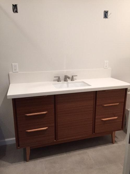 "(B35) 6 Drawer 60"" Mid Century Style Bathroom Vanity in Mahogany"