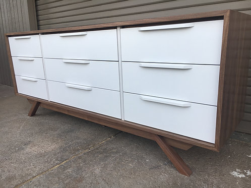 (W64) Mid Century Style  9 Drawer Dresser - Reverse Two Tone - Free Shipping!
