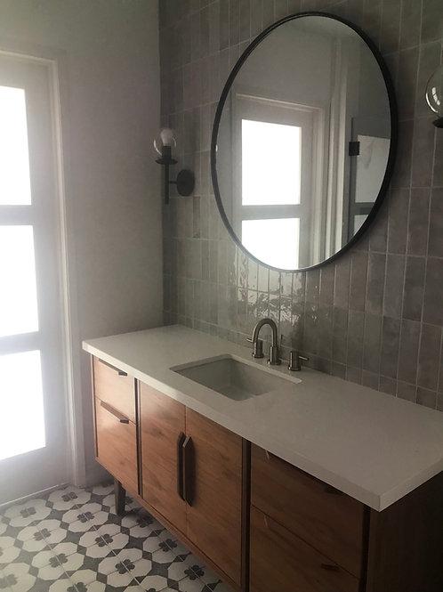 """(B11) Mid Century Style 60"""" Walnut Double Door / 4 Drawer Bathroom Vanity"""