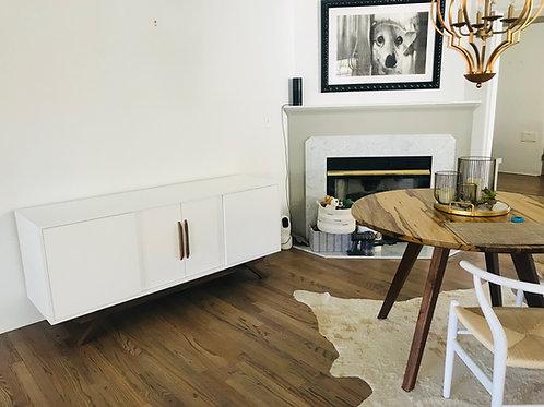 (W45) 4 Door White Mid Century Credenza with Walnut Leg Base - Angled Leg
