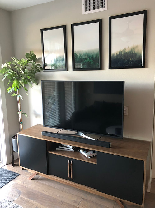 Walnut & Black 4 Door Credenza w/ center shelf - Angled Leg