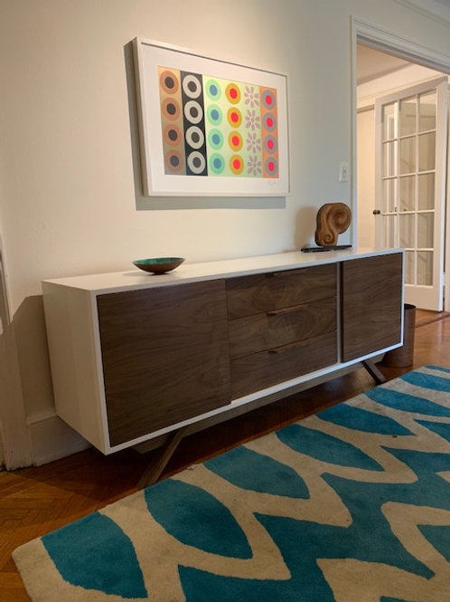 2 Door / 3 Drawer White and Walnut Credenza - Angled Leg
