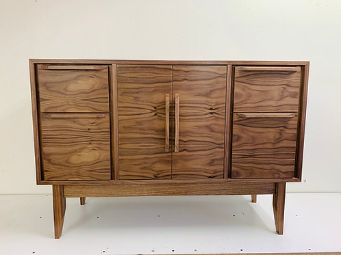 "48"" - 4 Drawer with Center Door Walnut Buffet / Credenza  - Straight Leg - Fre"
