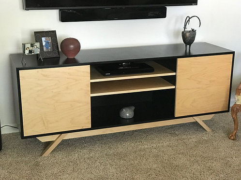 (M6) Black & Maple 2 Door with Center Shelf TV Stand - Angled Leg