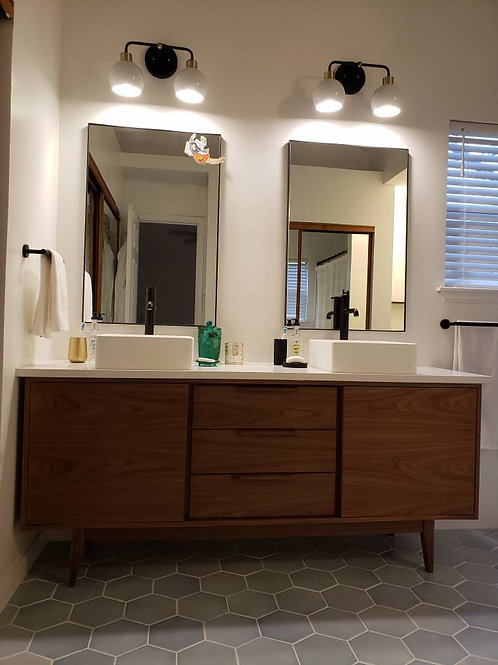 (B1) Mid Century Style Walnut 3 Drawer Bathroom Vanity - Straight Leg Base