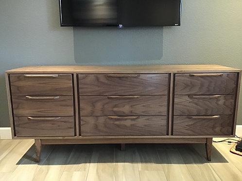 Walnut 9 Drawer Dresser - Mid Century Style - Free Shipping