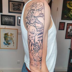 Hand Poke Tiger Tattoo
