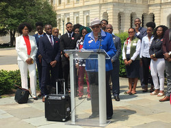 Congresswoman Alma Adams speaking at HBCU Collective Press Conference