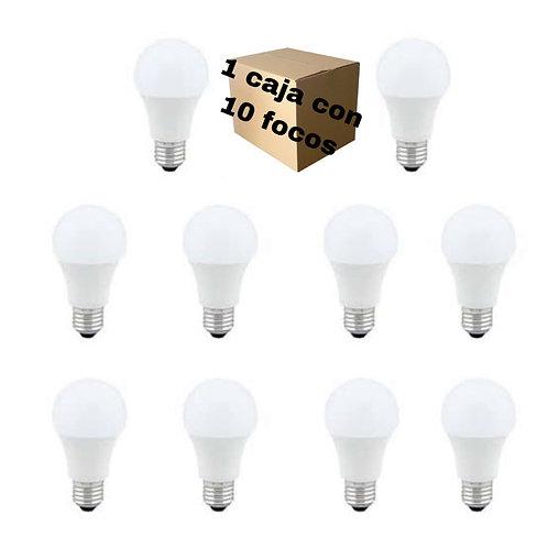 Pack 10 focos E27 9w led blanco frió