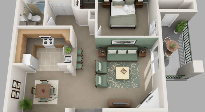 One bedroom layout
