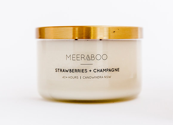 Meeraboo Soy Candle - Gold Lid - Strawberries + Champagne