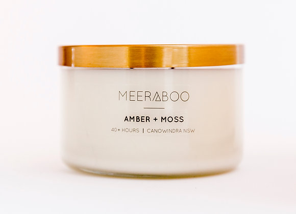 Meeraboo Soy Candle - Gold Lid - Amber + Moss