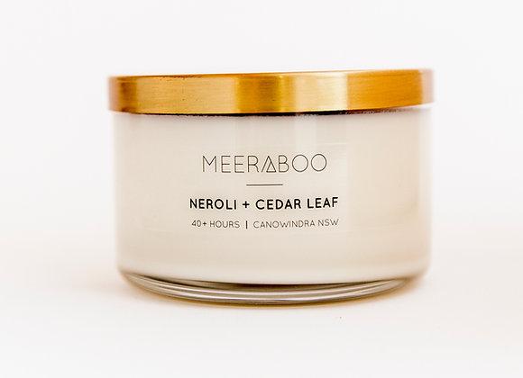 Meeraboo Soy Candle - Gold Lid -Neroli + Cedar Leaf