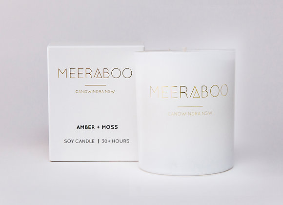 Meeraboo Soy Candle - Amber + Moss