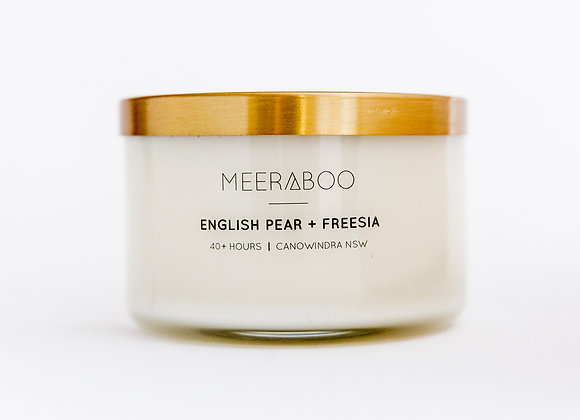 Meeraboo Soy Candle - Gold Lid - English Pear + Freesia