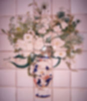 FLOWERS IN VASE PAINTED ON TILES