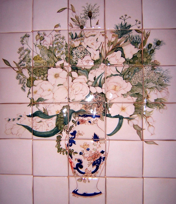 FLOWERS IN VASE PAINTED ON TILES
