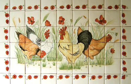 CHICKEN AND POPPY SCENE PAINTED ON TILES BY EJ TILE DESIGN