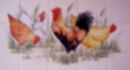 CHICKEN SCENE PAINTED ON TILES BY E J TILE DESIGN
