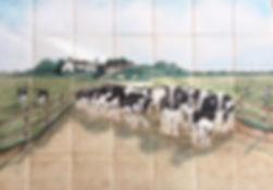 FARM SCENE WITH COWS BY E J TILE DESIGN