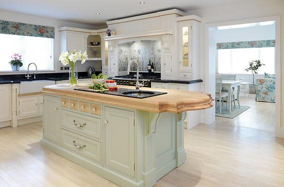 Hand painted tile splashback for kitchen