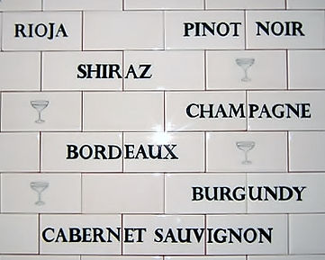 WINE LABELS PAINTED ON TILES BY E J TILE DESIGN