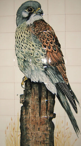 BIRD OF PREY HAND PAINTED ON TILES BY E J TILE DESIGN