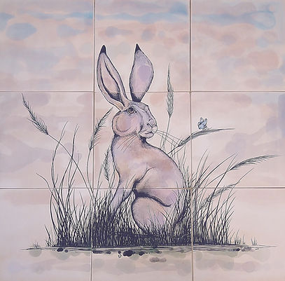 Hare painted on tiles for behind an aga