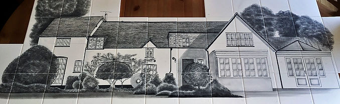House commission painted on tiles for aga back splash bespoke hose tiles by E J Tile Design