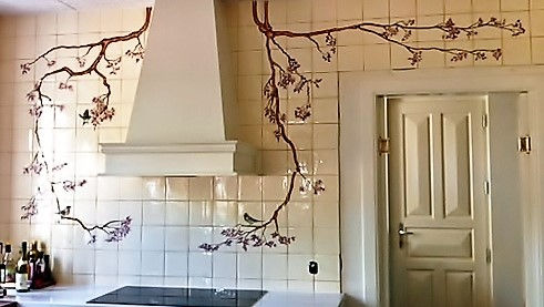 BIRDS ON BRANCHES PAINTED ON TILES BY E J TILE DESIGN