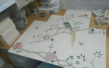 Chinoiserie Design Painted on Tiles