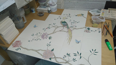 BIRDS ON BRANCHES PAINTED ON TILES