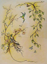 BIRD OF PARADISE DESIGN BY E J TILE DESIGN FOR HAND PAINTED TILES