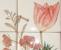 Floral hand painted kitchen tiles for splash back