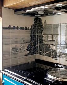 HOUSE PAINTED ON TILES INTO AN ALCOVE SP