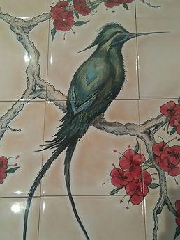 GREEN BIRD CHINOISERIE BIRD OF PARADISE
