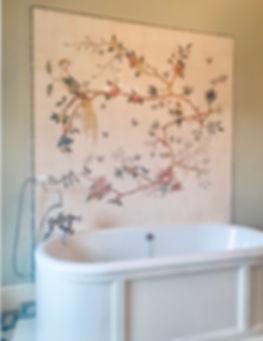bird & branch panel hand painted tiles c