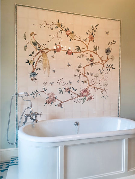 bird & branch panel hand painted tiles c