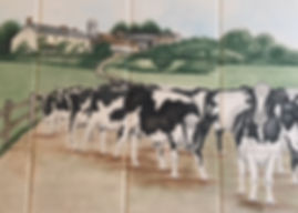 FARM SCENE WITH COWS PAINTED ON TILES BY E J TILE DESIGN