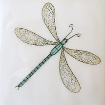 DRAGONFLY PAINTED ON TILES