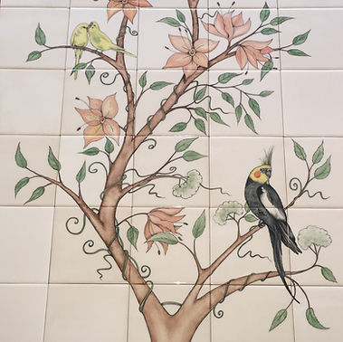 BATHROOM SPLASH BACK WITH BIRDS AND FLOW