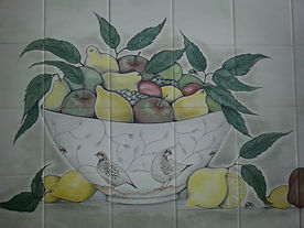 BOWL OF FRUIT HAND PAINTED ON TILES BY E J TILE DESIGN