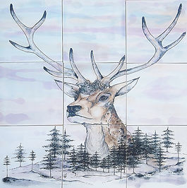 STAG DESIGN PAINTED ON TILES BY E J TILE DESIGN