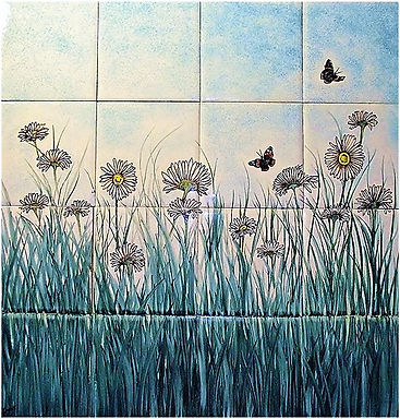 DAISY FIELD PAINTED ON TILES