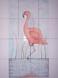 FLAMINGO PAINTED ON TILES BY E J TILE DESIGN