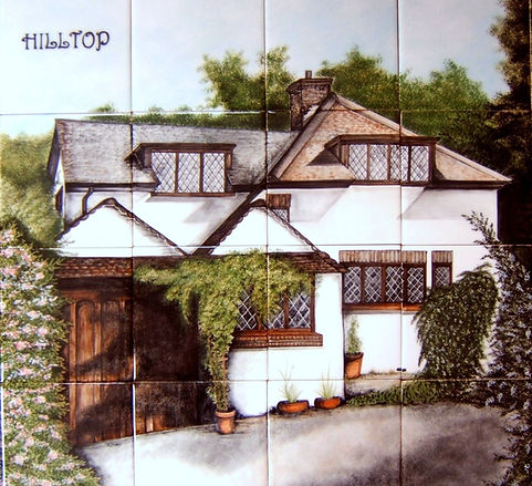 OUR HOUSE PAINTED ON TILES