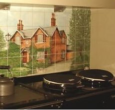 CUSTOMERS HOUSE PAINTED ON TILES BY E J TILE DESIGN
