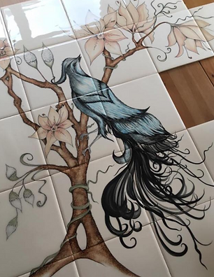 BIRD DESIGN HAND PAINTED TILES BESPOKE T