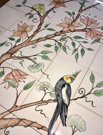 birds on branches tiles handpainted besp