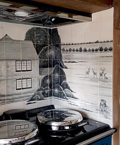 BLACK AND WHITE HOUSE TILES BEHIND AGA I